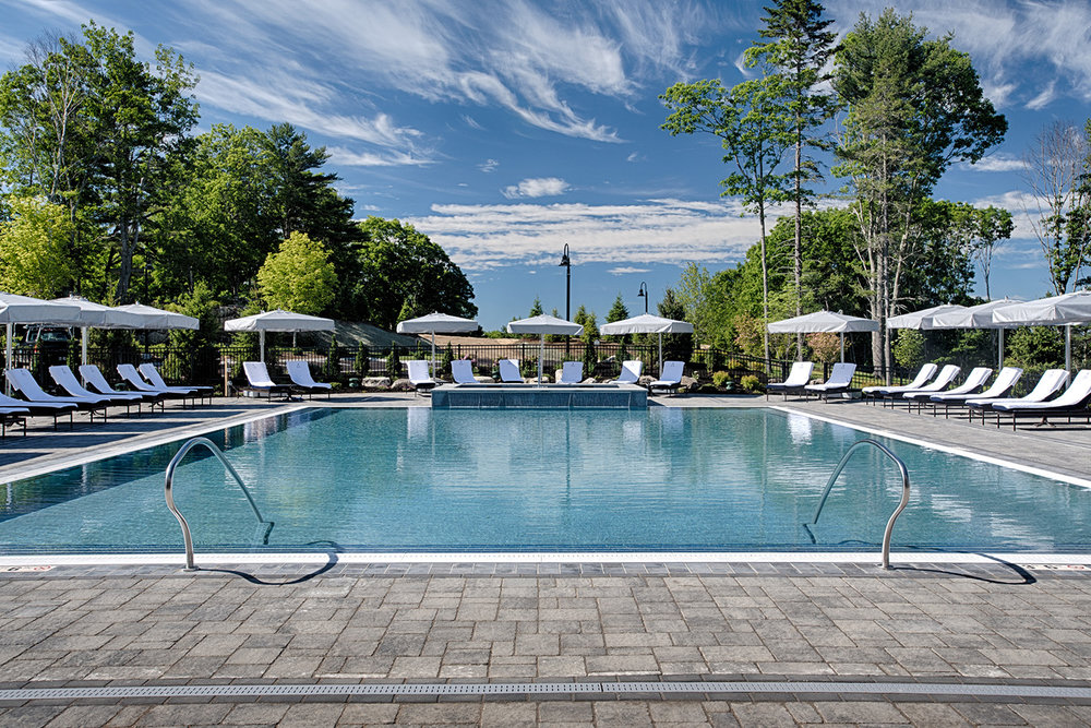 Heated salt water pool and 12 person hot tub