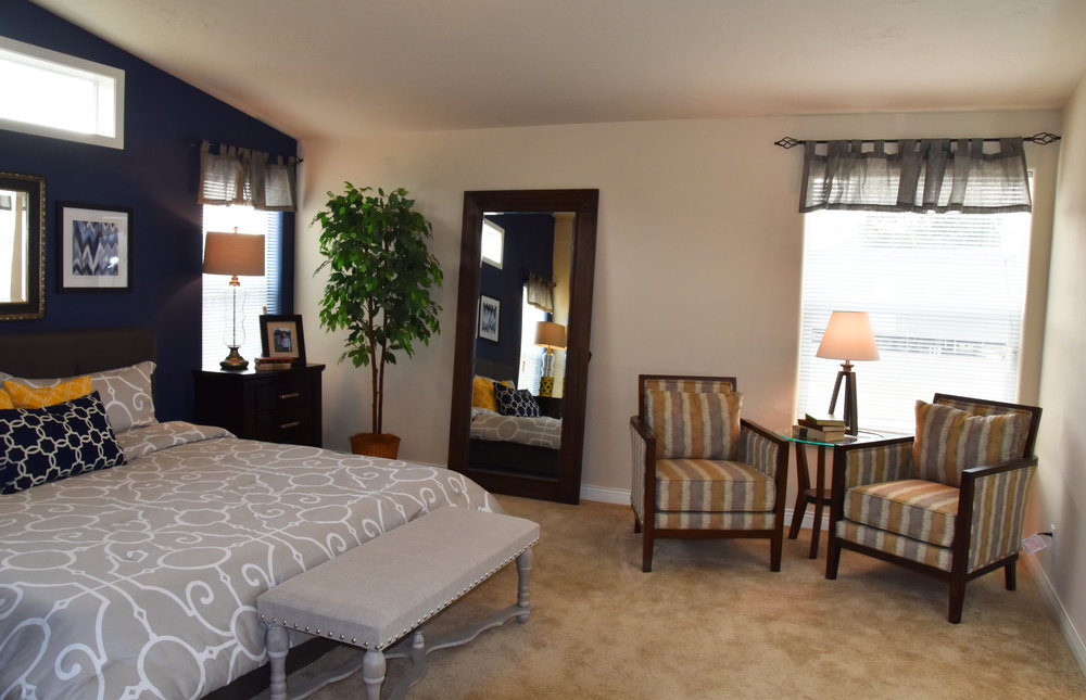 Model home master bedroom interior design | Pacific Northwest