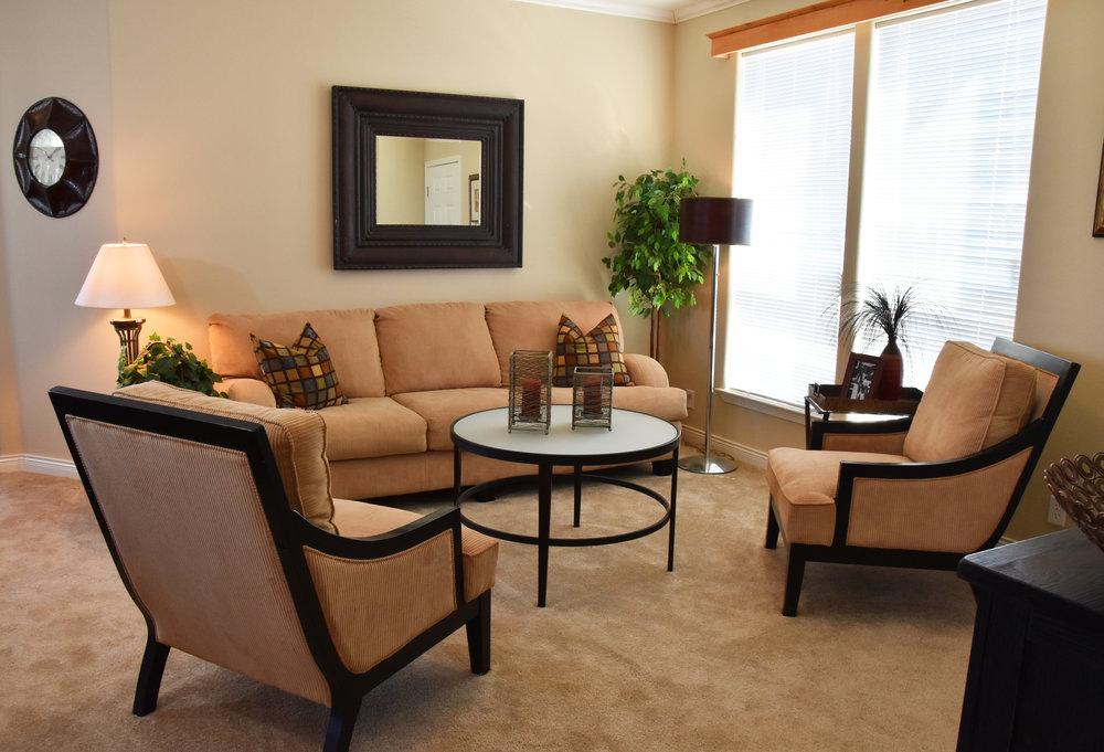 Contemporary model home open concept living space
