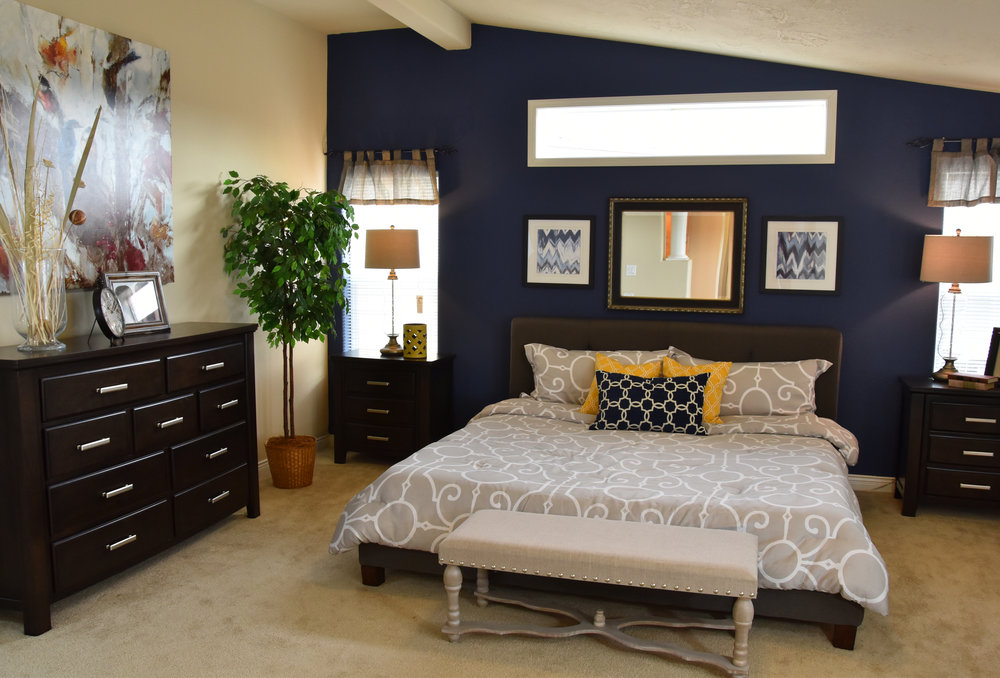 Master Bedroom Remodel - Navy Blue Wall