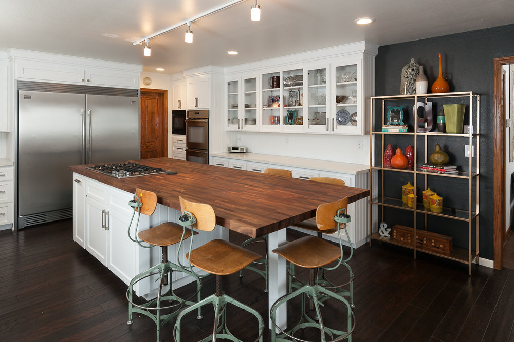 Mid Centrury Modern Kitchen Remodel with butcher block countertop