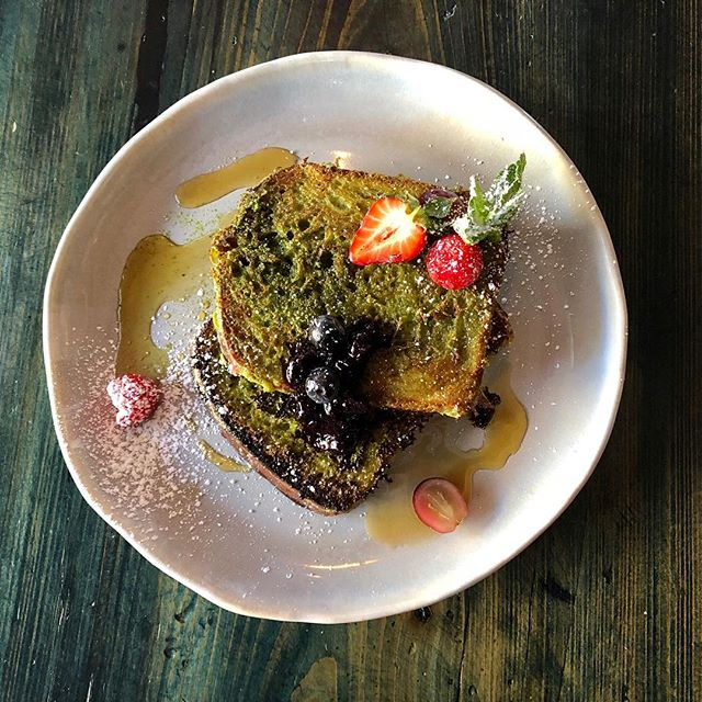 Our St. Patrick's Weekend Special 🍀🌈 Matcha French Toast with Berries 🍓for $8 #stpatricksday #happystpatricksday