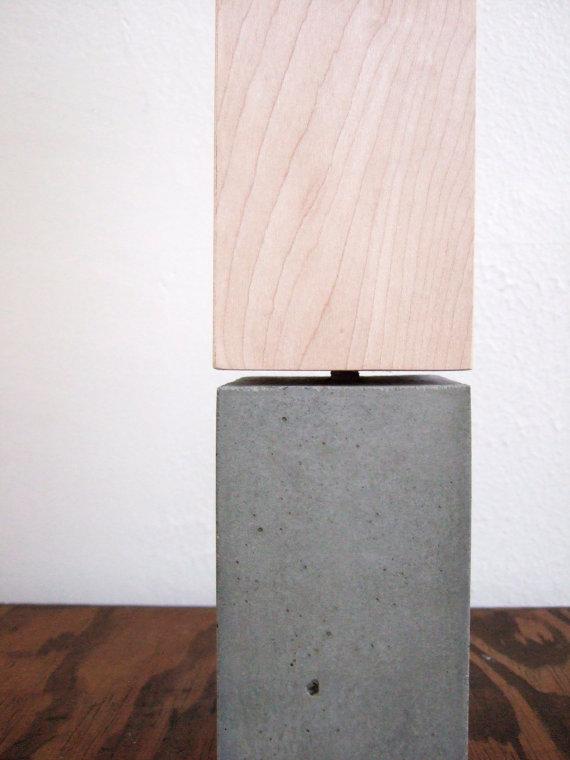 ConcreteTableLampWoodLampshade
