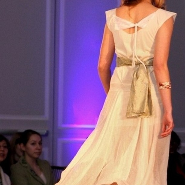 Eco wedding fashion show pics. Vintage inspired wedding dress in creme and soft white with floaty flowing skirt. #bridal #fashion #ecofashion #bohostyle #weddingdress #cream #floaty #wispy #handmade #spring #creme