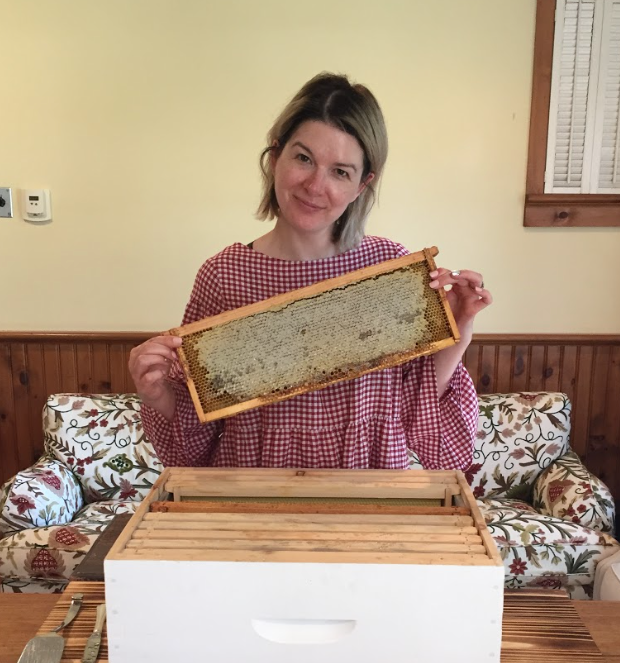 Breaking Beauty's Carlene Higgins learning about honey harvesting at Langdon Hall with Valmont