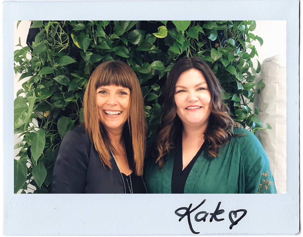 Saje Co-Founder Kate Ross LeBlanc (left) with Breaking Beauty Podcast's Jill Dunn