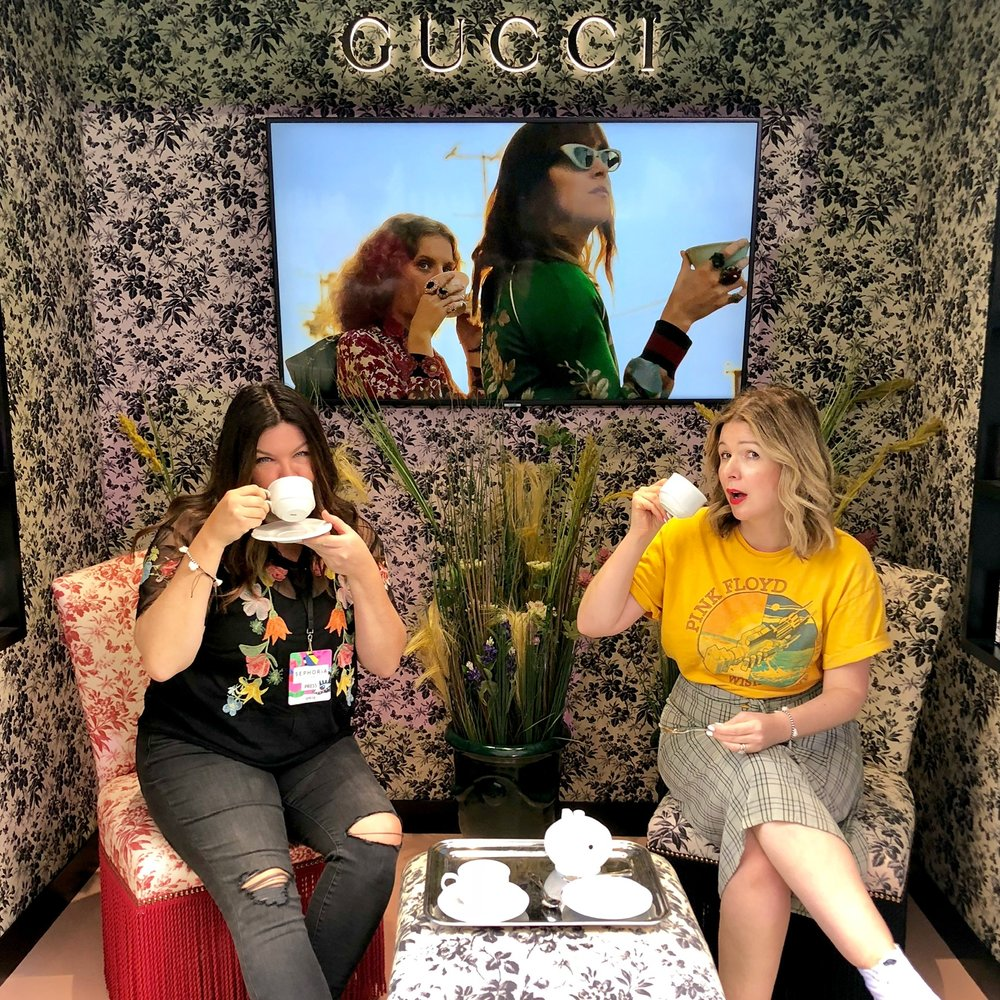 Your dainty podcast hosts inside Gucci's bloom room