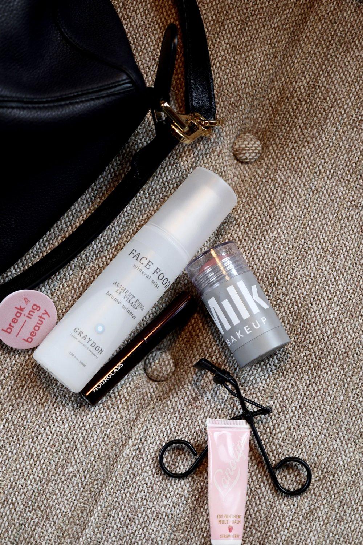 What's in Anna Newton's bag? Graydon Skincare, Milk Makeup! Surratt Eyelash Curler, Lano Lips