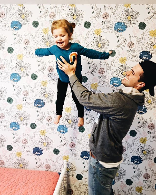 "And just like that, she's 29 months. 😂 but for reals, I'm gonna celebrate each month I get with this girl for the rest of my life. • • We have had so much fun making Addison's room HER space. She walked in today and saw her new wall paper from @chasingpaper and said, ""I LOVE it!"" She is all girl 😂"