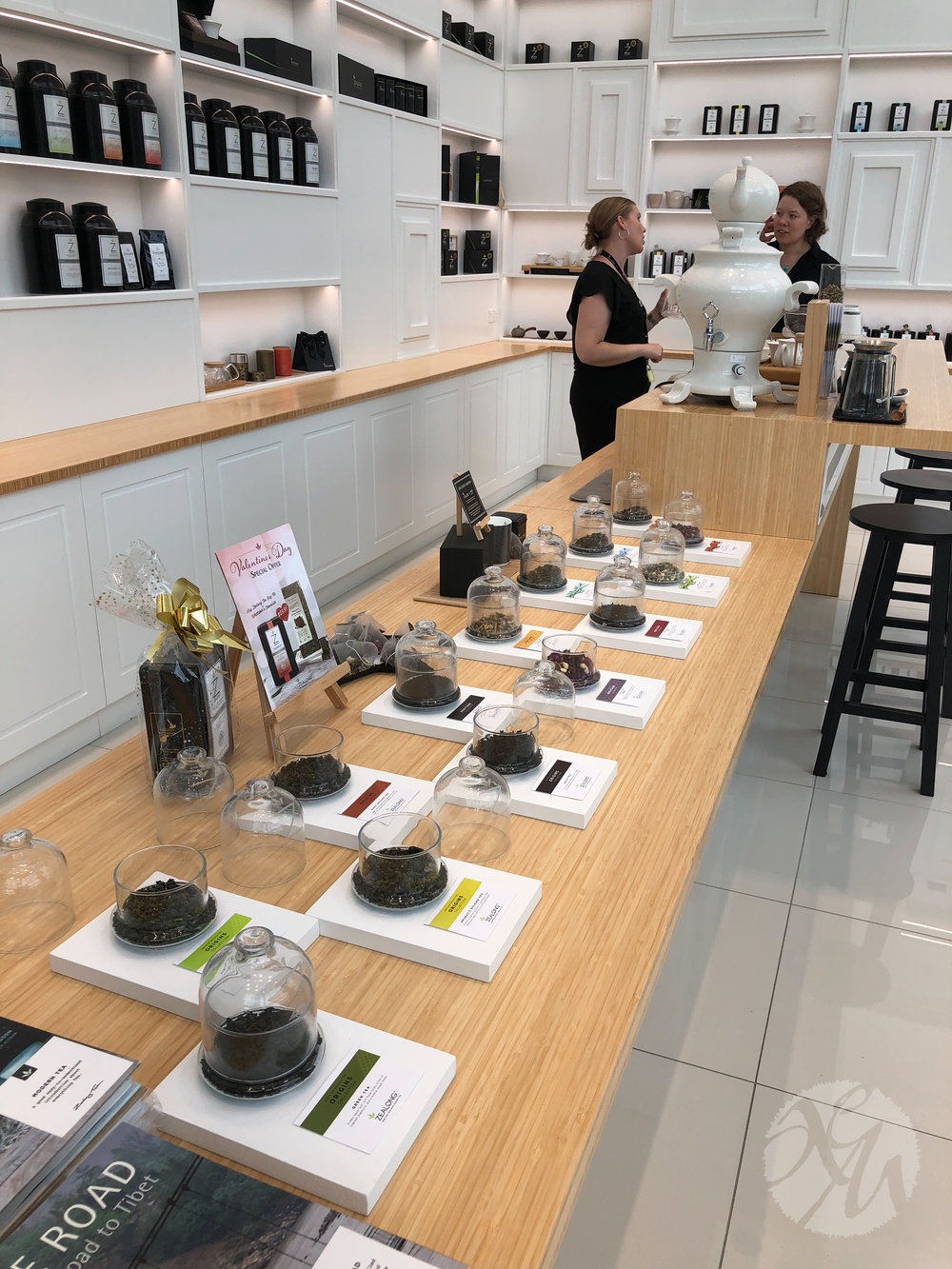 Each of the Zealong Tea Estate's teas was laid out in the retail shop. We lifted the glass lid off each to inhale the beautiful scents of pure tea leaves, aromatic flowers, and herbs.