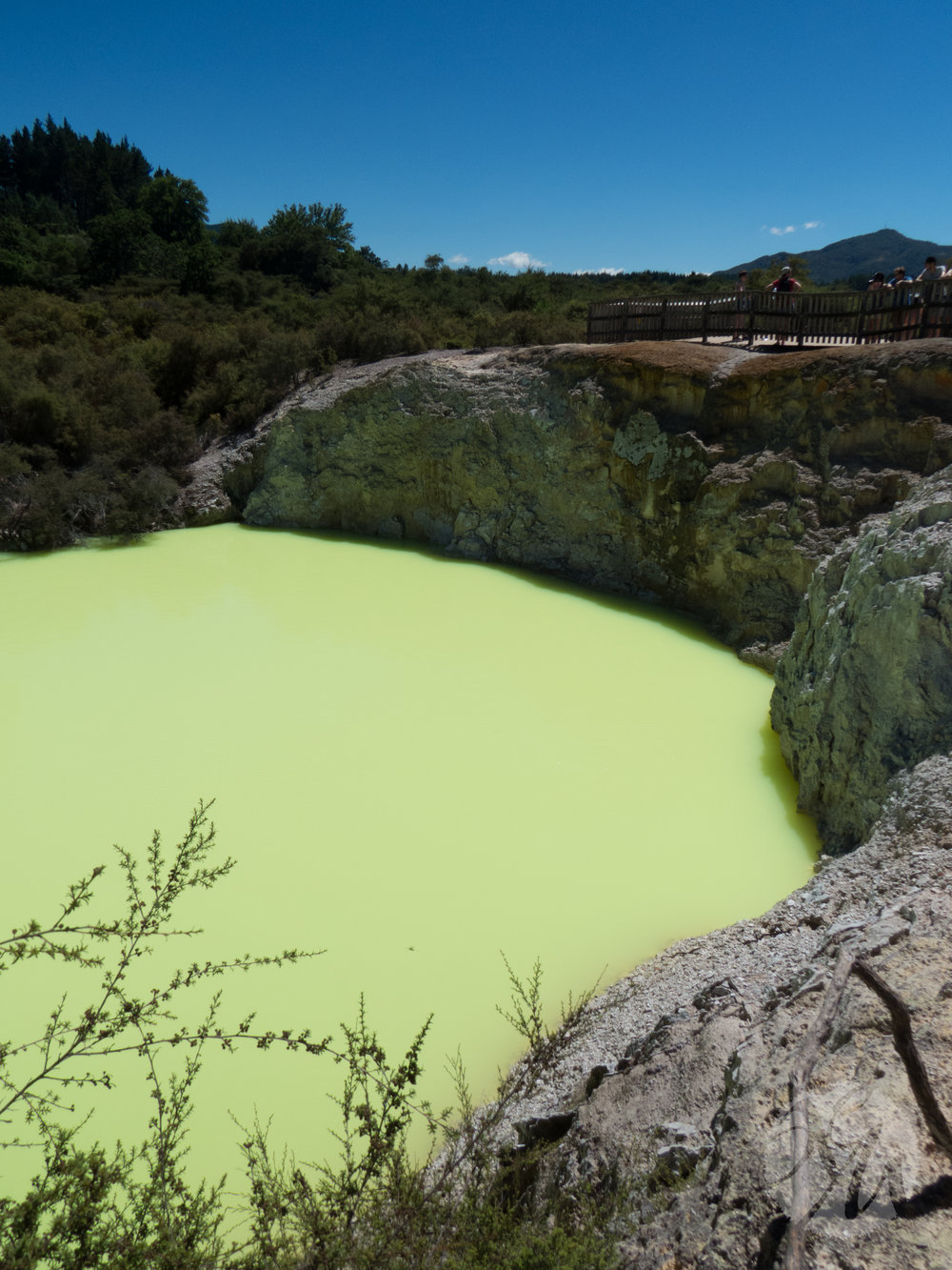 Aptly named the Devil's Bath, the color of this pool shifts from green to yellow and results from the mineral-rich water from the nearby Champagne Pool mixing with sulphuric and ferrous salts. I'd never seen anything like it.