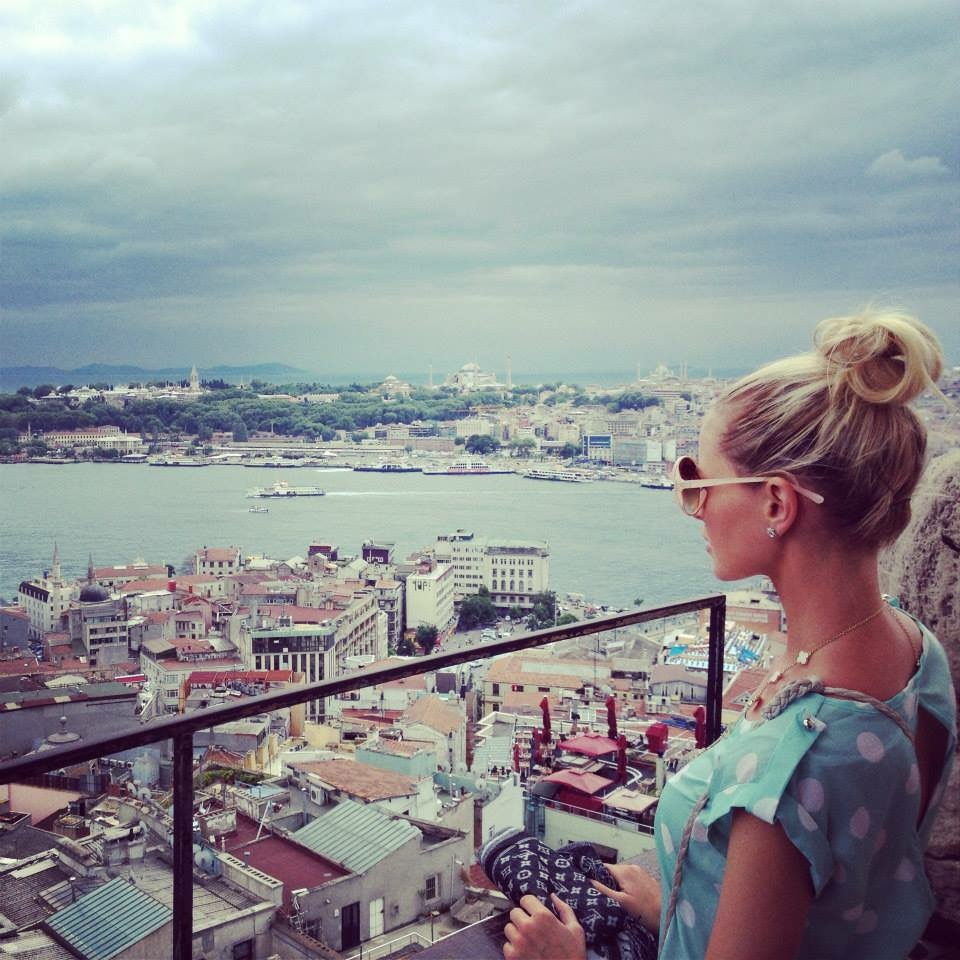 Travel Blogger Katy Johnson looking out in Istanbul