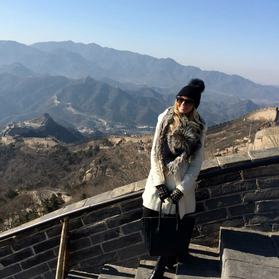 Travel Blogger Katy Johnson at the Great Wall of China.