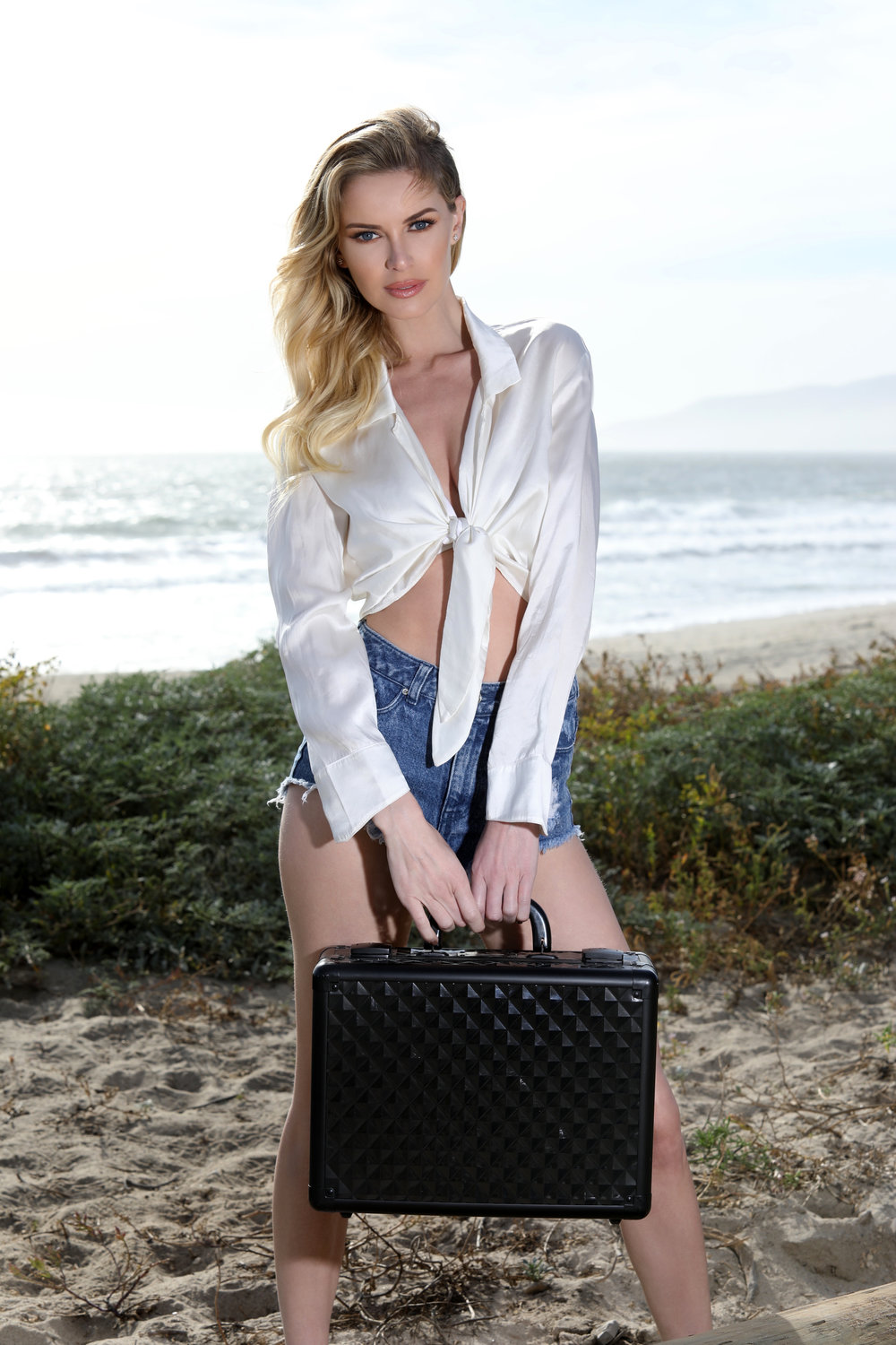 One Model Mission's Katy Johnson at the beach in Malibu.