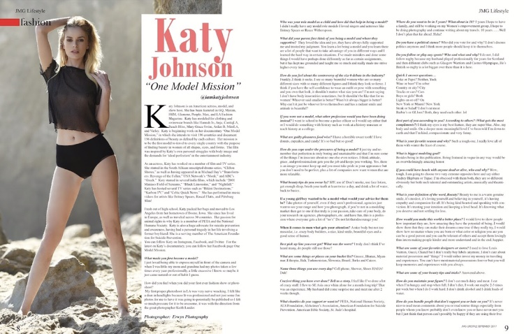 Travel Blogger Katy Johnson talks One model Mission, Women's Empowerment, and True Beauty with JMG Lifestyle Magazine