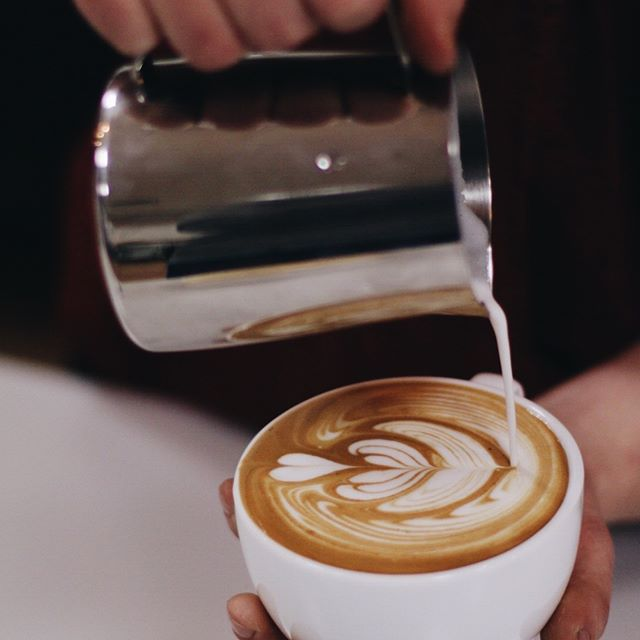 Our baristas practice hard to get their latte art just right, no one more so than @average_sean.  Sean's a perfectionist and it shows in each drink he serves.