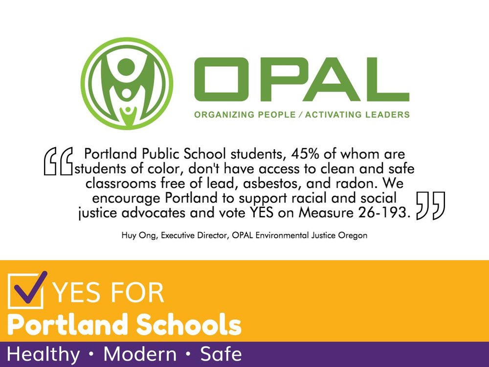 Picture shows a quote highlighting OPAL Environmental Justice Oregon's endorsement, featured below.