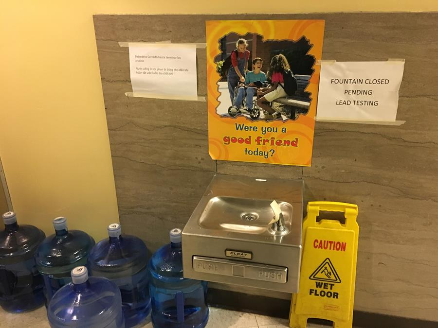 A photo of a closed water fountain at Vernon Elementary School in Northeast Portland