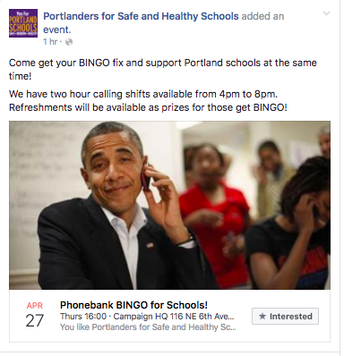 A screeenshot of our facebook event about an upcoming phonebank night for the campaign.