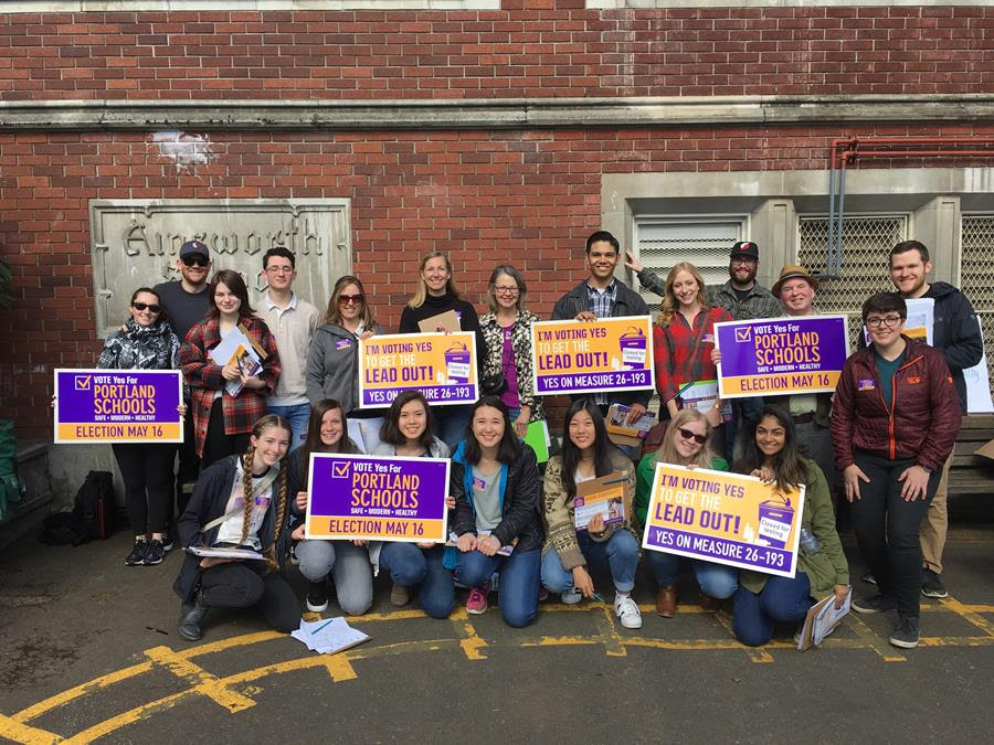 A Photo of volunteers at Ainsworth Elementary for our canvass last weekend.