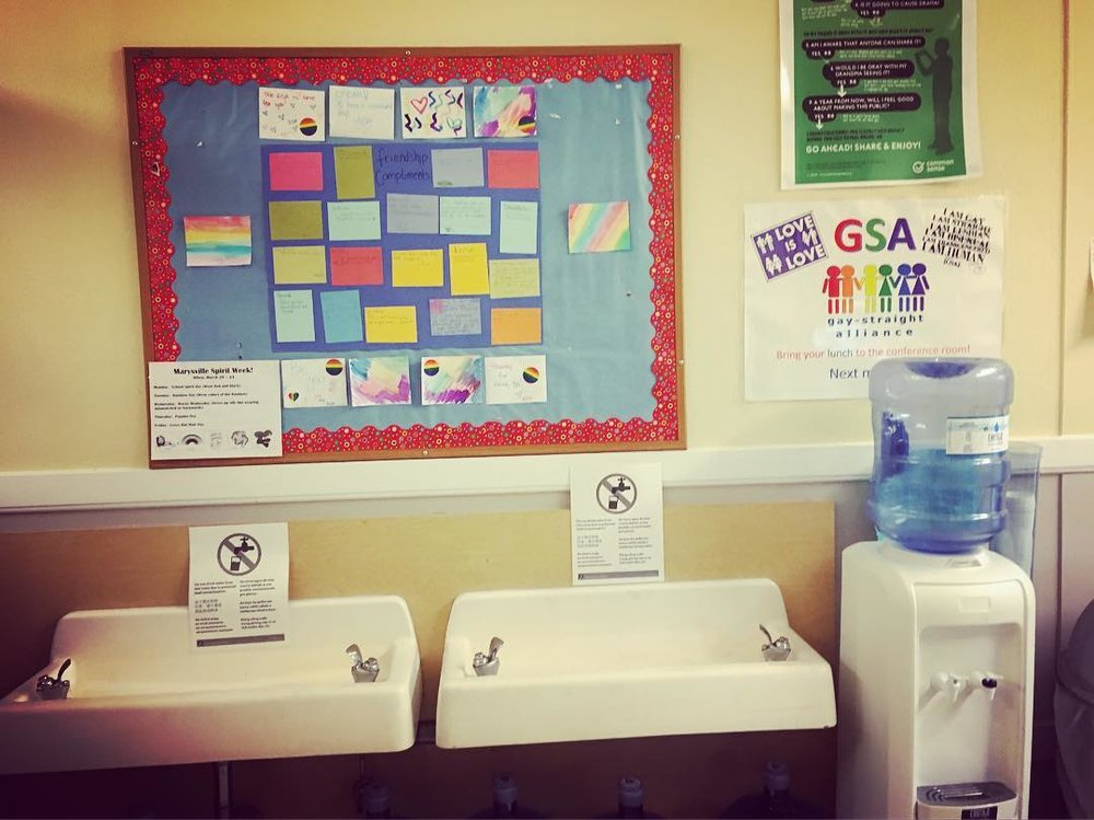 Closed water fountains at Southeast Portland's Marysville Elementary.