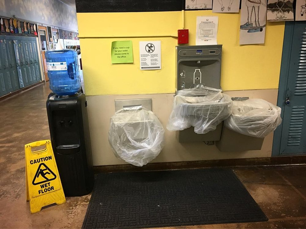 Photo Caption: closed water fountains at southeast Portland's Sunnyside Environmental School.