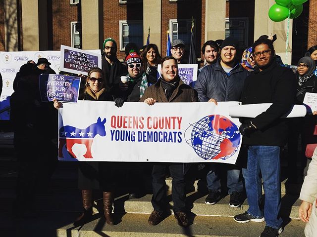 Queens is #StrongerTogether and #LoveTrumpsHate. We made that loud and clear at Queens Borough President Melinda Katz's rally. Thank you, Madame BP for having us! #QCYDDayofSolidarity