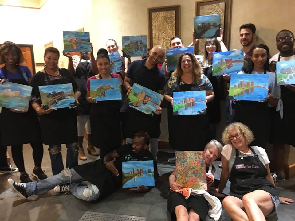 Resident Event at River Lofts at Tobacco Row.  Painting:  RVA Skyline