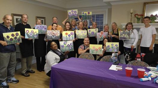 Paint Night Fundraiser for Alzheimer's at Morningside West End Assisted Living.  Painting:  Purple Flowers
