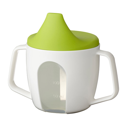 Babies can start practicing with/using a sippy cup at 6 months! This one is a perfect size + has easy to grip handles on the sides. Get it   here  .