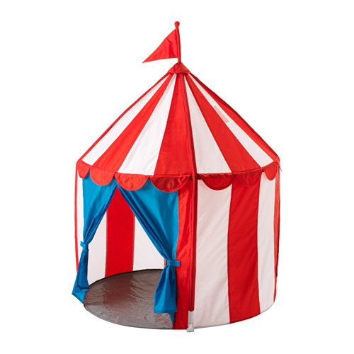 We don't have this (yet), but I think it's too cute. I totally picture little kids playing pretend circus in this with stuffed animals! Find this kids circus tent (on sale!!!)  here  .