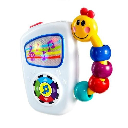This is super great because the songs are longer than most baby toys. We take it on walks or car rides and he loves it! Also the handle makes it easy for little ones to hold on to.   Find it  HERE .