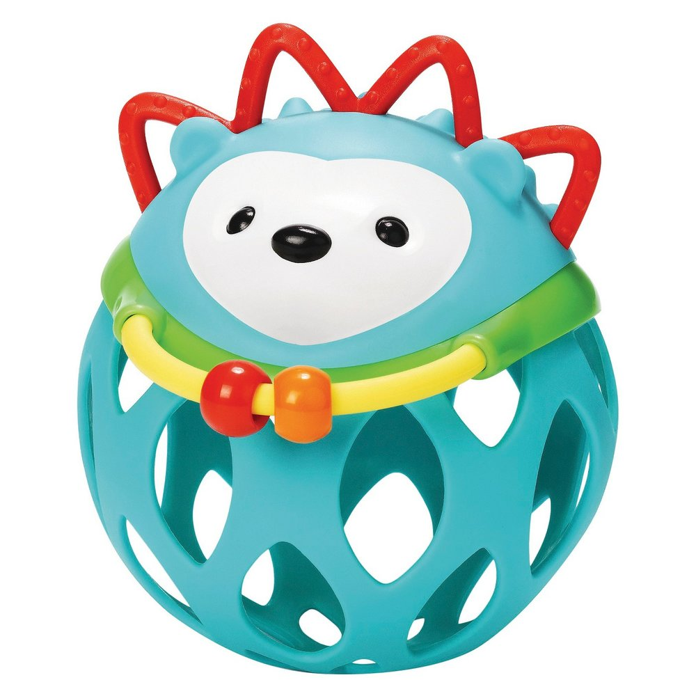 We love SKIPHOP toys. The holes in this hedgehog toy make it easy for Nixon to stick his fingers in and shake!  Find it  HERE .