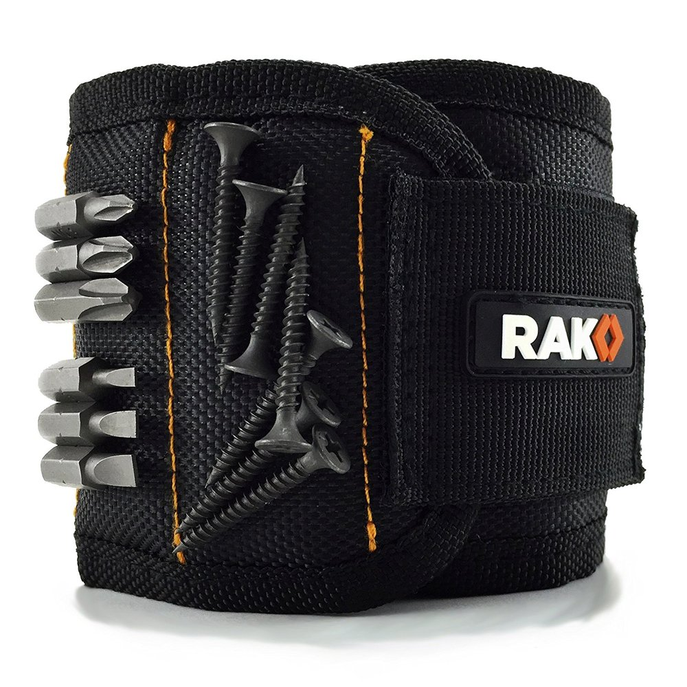 Magnetic wristband for holding screws, nails, etc