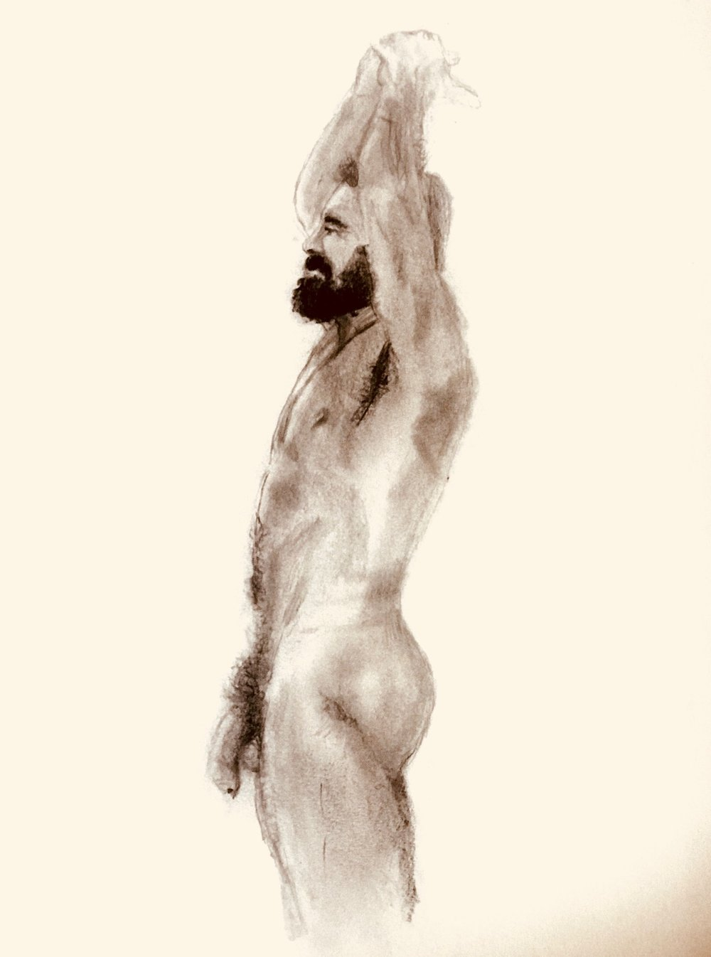 A Spanish Man in the Morning.  Original Drawing available for purchase at Maison Depoivre.  https://www.artsy.net/maison-depoivre/artist/saul-lyons