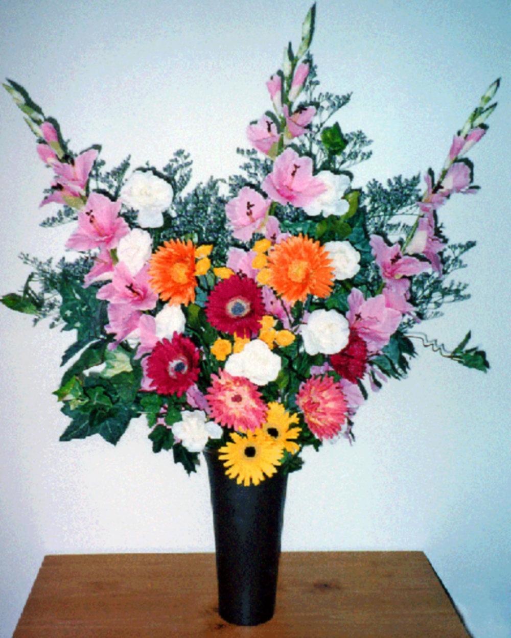 service arrangement - silk flowers with fresh filler