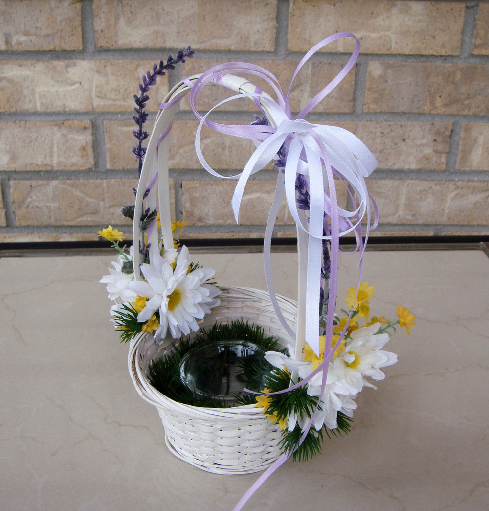 flower girl basket with candy holder - silk flowers with fresh filler