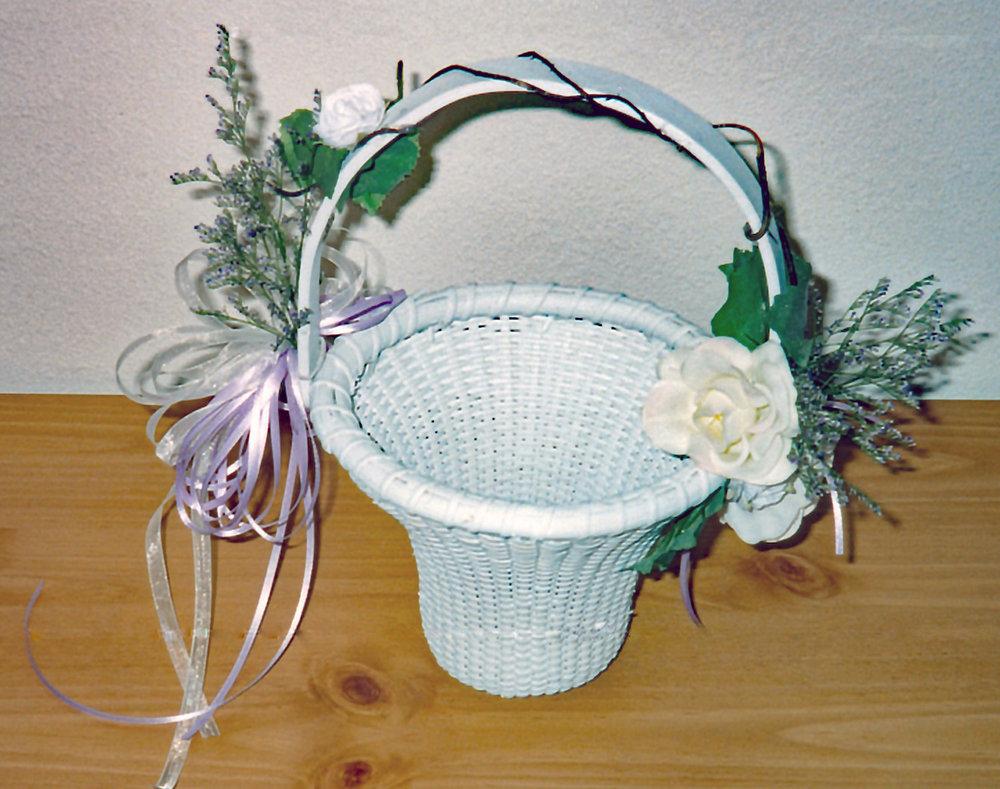 flower girl basket - silk flowers with fresh filler