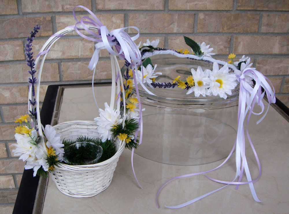 flower girl basket and floral crown - silk flowers with fresh filler