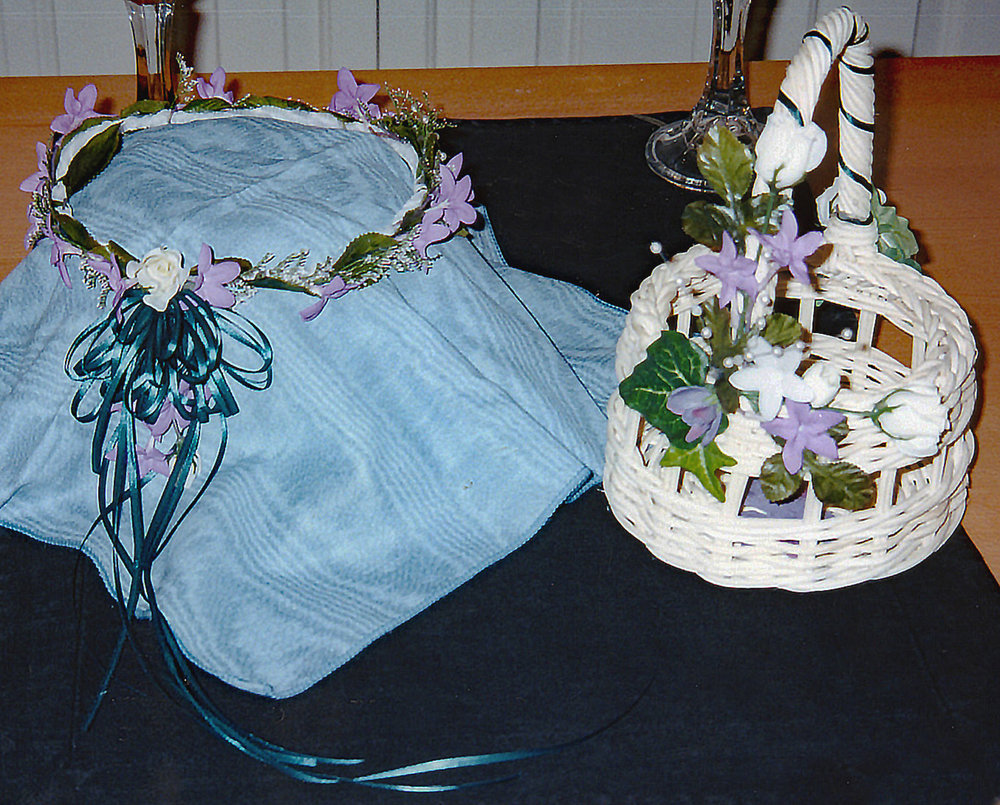 flower girl basket and floral crown - hand-dyed silk flowers with fresh filler