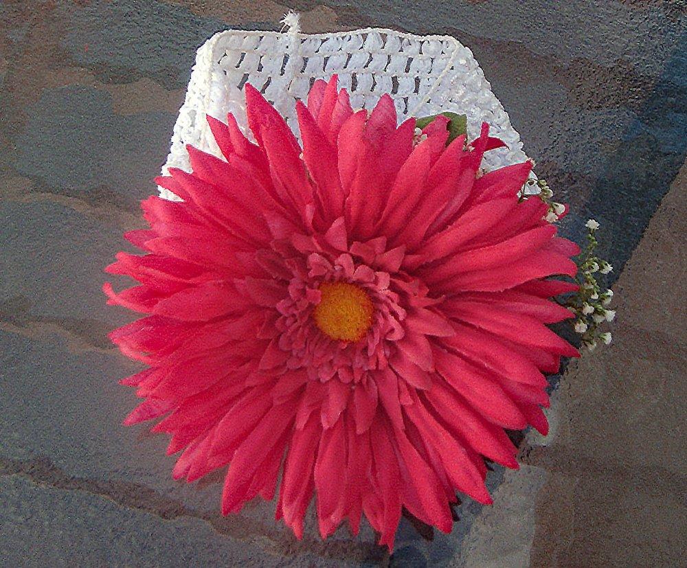 flower girl headband - silk flower with fresh filler