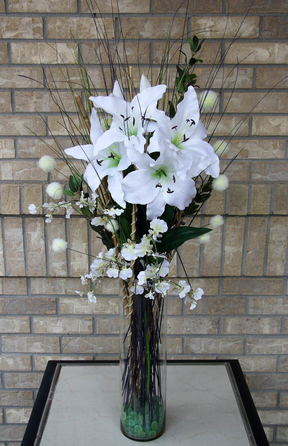 tall vase arrangement - silk and dried flowers, glass beads