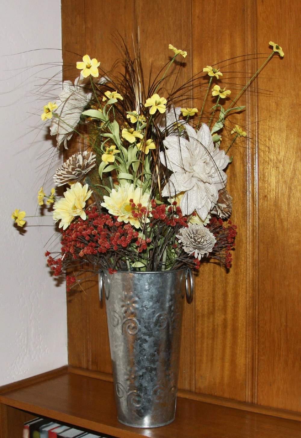 event decor - silk, burlap, wood and felt flowers