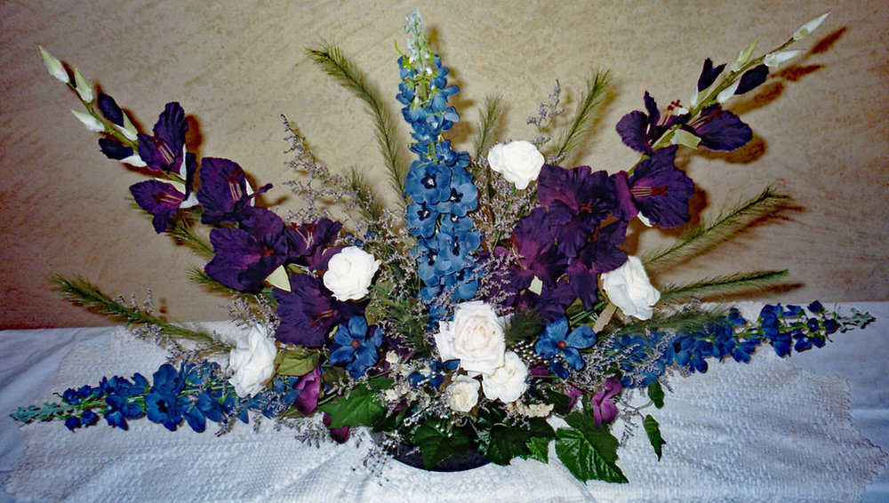ceremony alter and/or head table arrangement - silk flowers with fresh filler