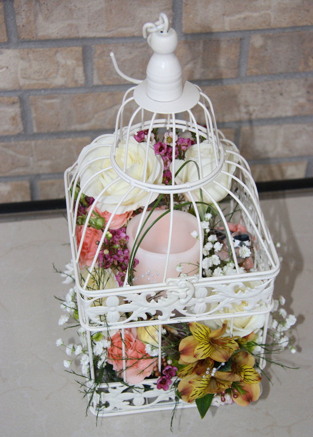 table centerpiece, birdcage - fresh flowers, mushroom birds, LED candle