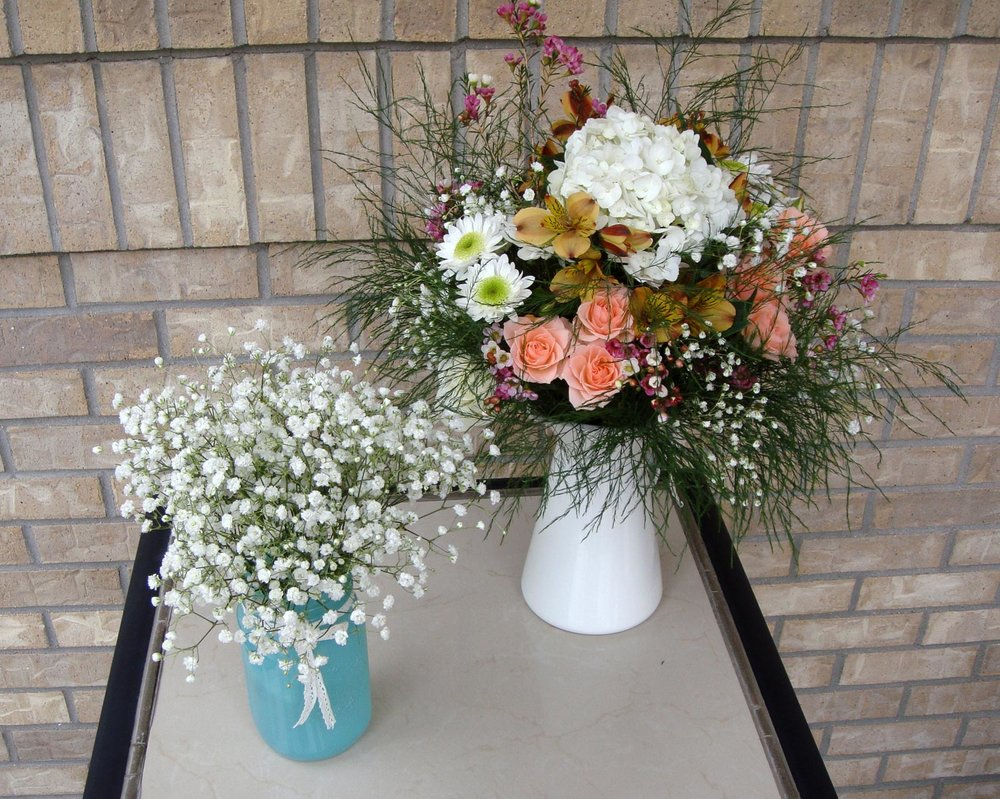 table centerpiece and/or reception decor - fresh flowers