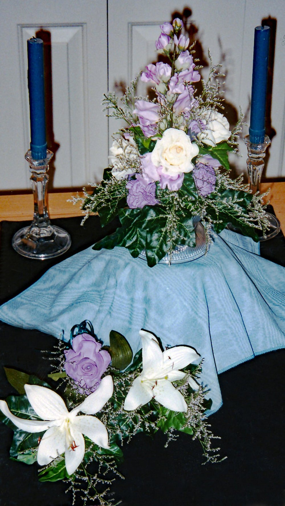cake topper and tier accents - hand-dyed silk flowers with fresh filler