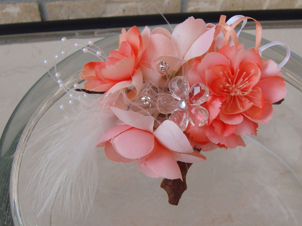 corsage - silk flowers with feather, pearl spray and crystals