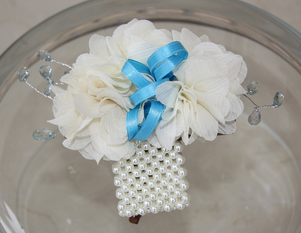 wrist corsage - chiffon fabric flowers with crystals