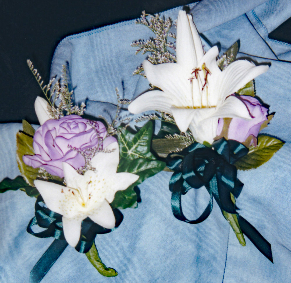 grandmother (left) and mother's (right) corsages - hand-dyed silk flowers with fresh filler